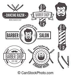 laden, abzeichen, salon, satz, emblem, weinlese, logotype, elemente, herrenfriseur, oder