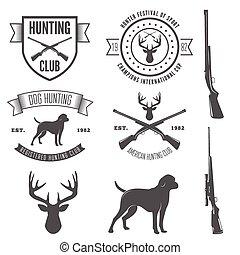 laden, abzeichen, satz, emblem, jagen, klub, weinlese, logotype, gewehr, elemente, oder