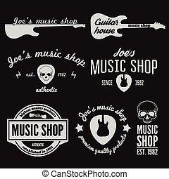 laden, abzeichen, satz, emblem, laden, weinlese, logotype, gitarre, elemente, musik, oder, logo