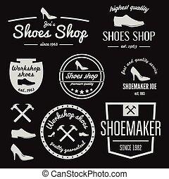 laden, abzeichen, satz, emblem, schuhe, reparatur, weinlese, logotype, elemente, oder, logo, schuster