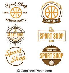 laden, abzeichen, satz, emblem, weinlese, logotype, elemente, sport, oder, logo