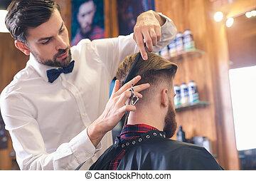 Laden, begriff,  service, junger, Haar, Herrenfriseur, Mann, sorgfalt
