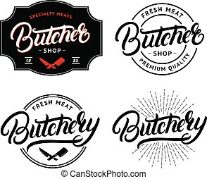 laden, beschriftung, satz, abzeichen, gemetzel, metzger, reichen geschrieben, etikett, emblem., logo
