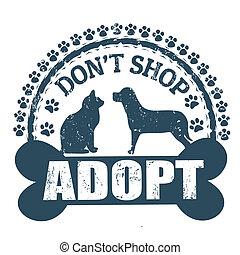 laden, briefmarke, adoptieren, macht