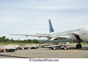 laden, gepäck, in, motorflugzeug
