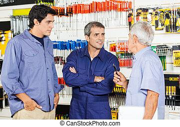 laden, hardware, kunden, arbeiter, kommunizieren