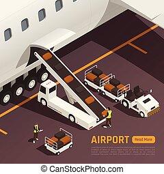 laden, hintergrund, flugzeug, gepäck