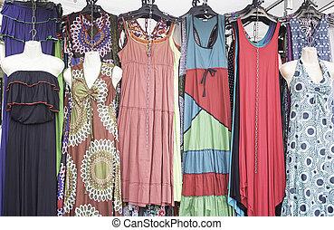 laden, hippies, kleidet