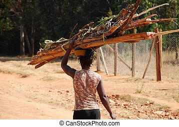 laden, holz, frau, tansania, -, während, tragen, afrikanisch