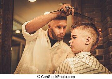 Laden, Junge, wenig, Besuchen,  hairstylist, Herrenfriseur