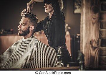 Laden, Klient, Herrenfriseur,  hairstylist, Besuchen