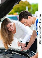 laden, reparatur, frau, auto, sprechende , mechaniker