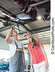 laden, reparatur, frau, prüfung, auto, zuverlässig, modern, mechaniker, auto