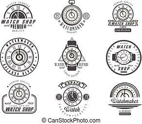laden, reparatur, stil, service, satz, uhr, uhren, vektor, retro, hintergrund, logo, illustrationen, monochrom, weißes, abzeichen