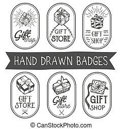 laden, satz, geschenk, weinlese, etiketten, hand, vektor, gezeichnet, style.