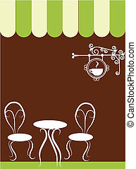 laden, stühle, bohnenkaffee, zwei, tisch