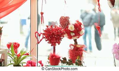 laden, tag valentines, geschenk, schaukasten