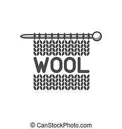 laden, wolle, emblem, stoff, needle., etikett, gestrickt, schneider, strickzeug, hand hat gemacht, oder