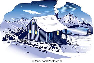 ladera, cabaña, nevoso