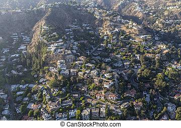 ladera, hogares, y, niebla tóxica, aéreo, en, el, hollywood, colinas