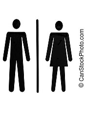 Ladies and gents - Man and woman symbol for public toilet...
