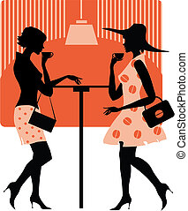 Ladies at cafe - Vector illustration of two retro style ...