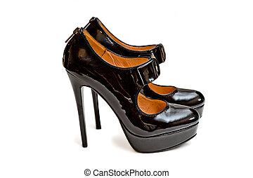 ladies black high heel shoes with Zipper - Photo of ladies...