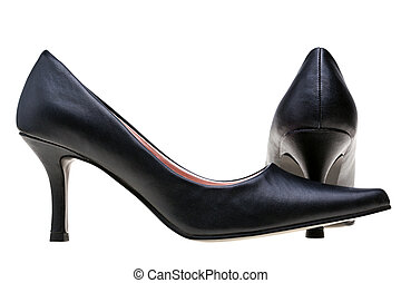 Ladies black high heels shoes isolated
