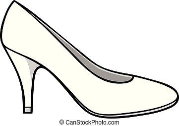 Ladies Dress Shoe Illustration - A cartoon illustration of a...