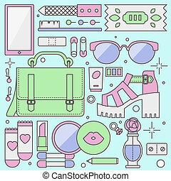Ladies fashion objects flat illustration - Ladies ...