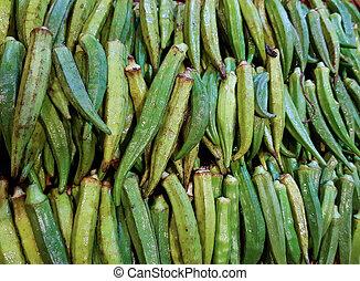ladies finger stack in vegetable market for sale