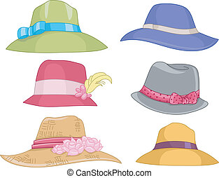 Ladies Hats - Illustration Featuring Different Designs of...