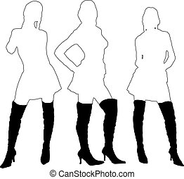 Three sexy ladies in outlines silhouette wearing black leather boots