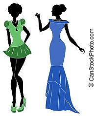 Ladies in short and long dresses