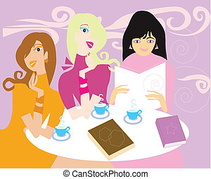Three ladies drinking coffee and read book in the library