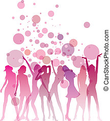 Ladies Night - Dancing woman silhouettes with bubbles and...