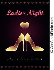 ladies night high heel fashion gold