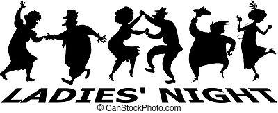 Ladies' night silhouette