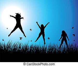 Ladies on  meadow