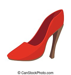 Ladies red shoe icon, cartoon style