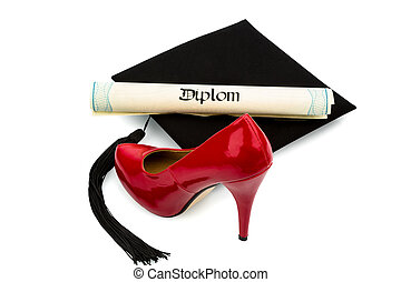 ladies shoes and mortarboard - a red ladies shoes, a diploma...