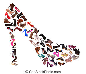 A collage of 30 ladies shoes, high heels, sandals and boots, isolated on a white background.