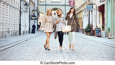 Ladies walking in the downtown