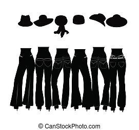ladies wearing jeans silhouette - ladies jeans concept