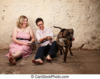 Ladies with Funny Dog