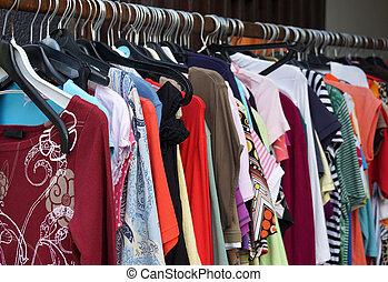 ladieswear, mano, secondo, moda