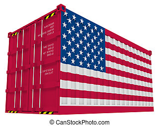 lading, amerikaan, container
