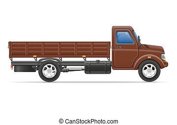 lading, goederen, vervoer, illustratie, vector, vrachtwagen