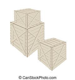 lading, houten, achtergrond, witte , stapel, dozen