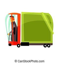 lading, illustratie, amerikaan, vector, vrachtwagen, spotprent, vervoeren